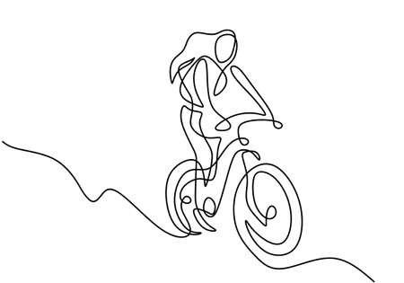 One continuous line drawing of young sporty woman riding bicycle and performs a trick on bicycle. A girl with long hair standing style in bicycle hand drawn minimalist art. Vector illustration