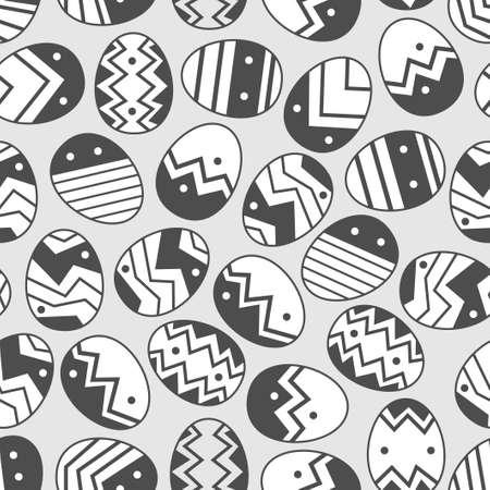 Vector doodle easter egg seamless pattern. Monochrome eggs with different ornament. Illustration of easter eggs holiday design elements for textile print, wrapping, backgrounds.