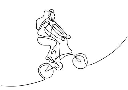 Continuous line drawing of happy woman cycling ride folded bicycle. Young energetic girl riding bicycle on the street isolated on white background. Healthy lifestyle concept. Vector illustration