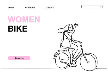 One continuous line drawing of a girl riding bicycle. Young woman with long hair ride her bicycle. Healthy lifestyle theme isolated on white background. Vector minimalist design for web banner
