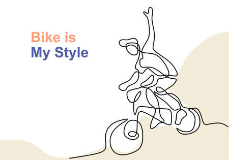 One single line drawing of young happy teenager man riding bicycle and freestyle isolated on white background. Vector illustration health concept hand drawn line art minimalist design