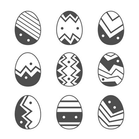 Easter eggs set collection doodle style. Happy easter hand drawn isolated on white background. Black egg icons with different ornament design element. Vector flat illustration