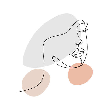 Continuous one line of cute woman face. Elegant woman abstract face in single line style isolated on white background. Vektoros illusztráció