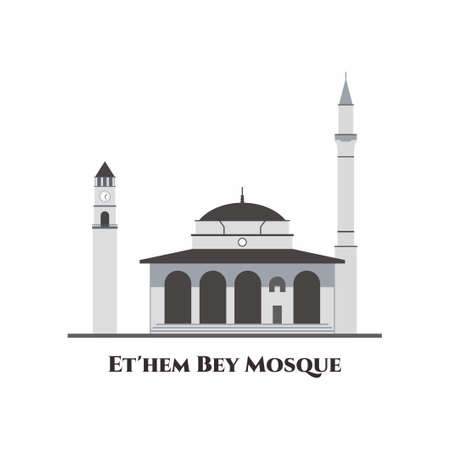 The Hajji Et'hem Bey Mosque in Tirana, Albania. This is the most beautiful mosque in the whole Albania. One of the oldest and historical buildings and well worth a visit. Flat vector illustration