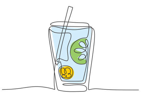 Continuous single line drawing of fresh lemonade ice on jar glass with sliced lemon isolated on white background. Cafe menu and restaurant badge concept minimalism one line draw art design