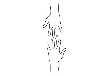Continuous line drawing of two hands barely touching one another. Simple sketch of two hands isolated on white background. People connecting each other symbol. Vector illustration Vector Illustration