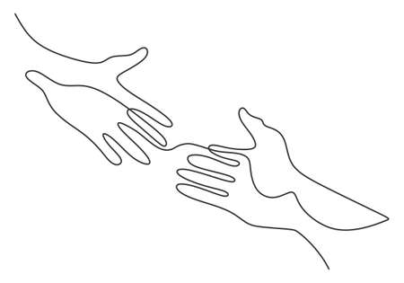 Continuous line drawing of two hands barely touching one another. Simple sketch of two hands isolated on white background. People connecting each other symbol. Vector illustration