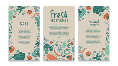 Food social media template with vegetable drawing colorful story banner. Vegan healthy foods for business promotion and store market.
