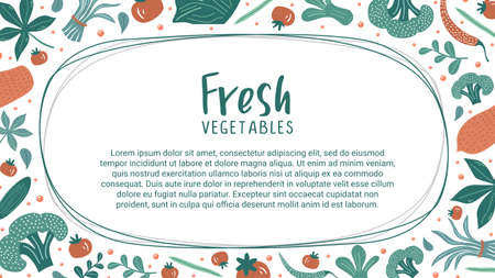 Fresh vegetables drawing decoration banner template, vector illustration decorative organic plant foods with sample text.