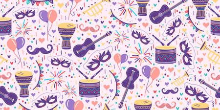 Carnival seamless pattern with festive festa junina drawing. Vector seamless pattern with carnival elements. Repeated texture with bright summer object. Background for Brazil carnival party.