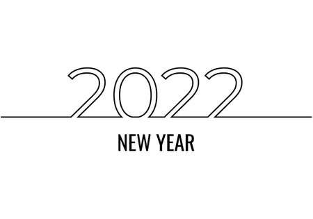 new year 2022 continuous one line drawing, minimalist text vector illustration, isolated on white background for celebration and banner. Ilustracja