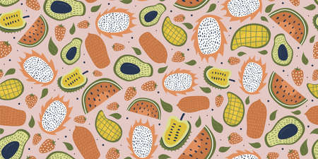 Seamless pattern with fruits drawing and leaves. Exotic fruit seamless pattern in hand-drawn style. Vector repeat background for colorful summer fabric.