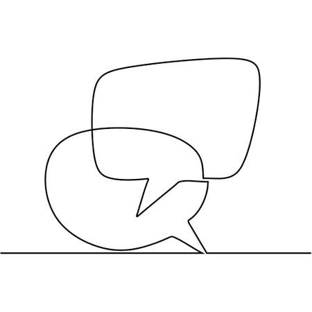 speech bubble continuous line drawing, black and white graphic vector minimalist. One line simple hand drawn.