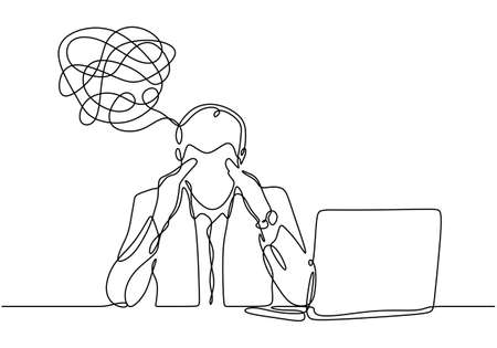 continuous line drawing of depressed man with problem in mind, vector illustration businessman has trouble and stress with his job in office. Ilustracja