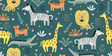 Cute animal seamless pattern with jungle drawing. Hand drawn floral animal seamless pattern on the white background. Exotic jungle wallpaper.