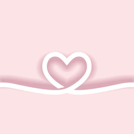 Continuous line drawing of heart minimalist art, symbol of love with paper cut style on pink background.