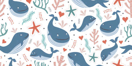 Whales seamless pattern with ocean theme for baby print. Cute baby animals. Pattern for kids with whales. Kids design. Ilustracja