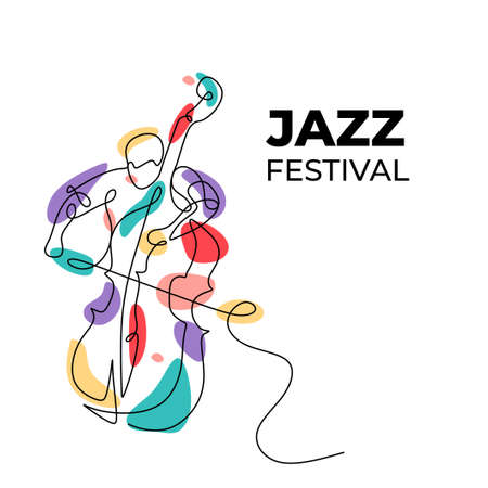 Jazz music festival banner with a man playing cello instrument. Trendy continuous one line drawing with colorful splash.