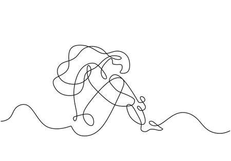 Sad girl sitting continuous line drawing, minimalist hand drawn of woman feeling bad and sad.