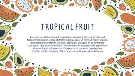 Tropical fruits background for digital media, website, poster and banner