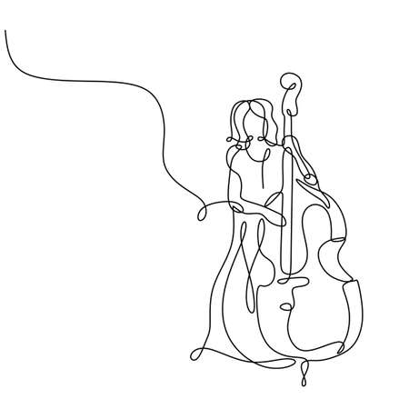 cello music player continuous one line drawing minimalist, vector of a girl standing playing classical music instrument.