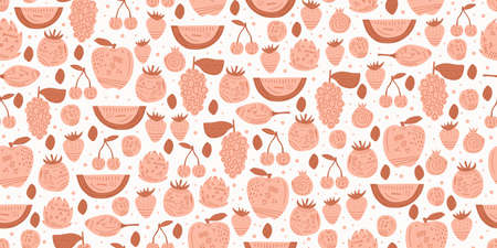 Fruits seamless pattern with hand drawn pink colors. Abstract hand drawn seamless pattern on pink background for typography, textiles or packaging design Ilustracja