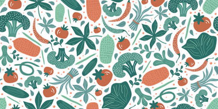 Vegetable seamless pattern with cute hand drawing. Fruits and vegetables flat hand drawn seamless pattern. Healthy nutrition cartoon texture. Organic food Scandinavian illustrations