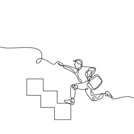 Stairway to success - continuous line drawing, Man running fast up stairs to reach his goals.Metaphor business success and boost personal career. Ilustracja