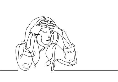 Stressed woman continuous line drawing, one single hand drawn vector illustration. young girl worried about suffering from depression in mental health, problems, and failures. Ilustracja