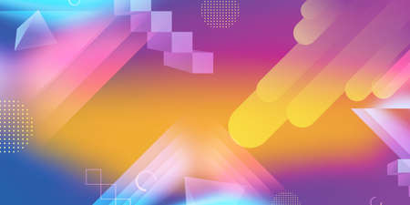 Contemporary geometric abstract background with light and gradient colorful shapes