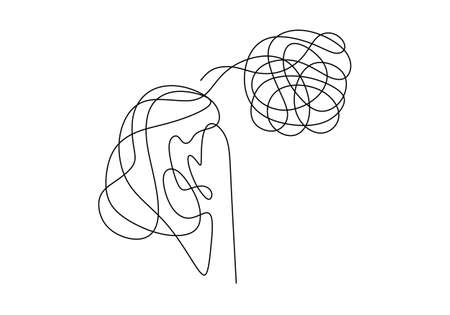 Sad, unhappy young woman continuous line drawing. Psychology problem with stress depression and bad mood. Minimalist vector illustration outline stroke style.
