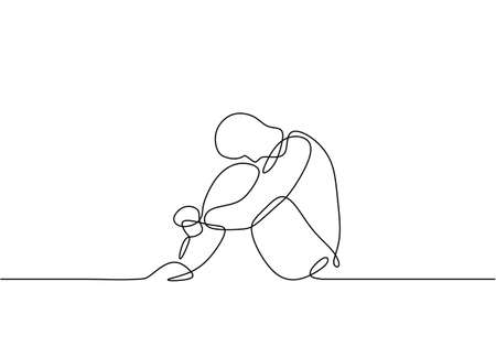 Continuous line drawing of sad man feeling desperate and stress about his life. He is sitting before suicidal. Ilustracja
