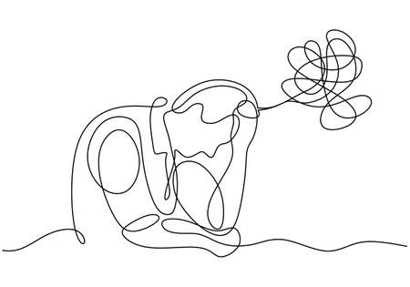 Man with mental health problem. Continuous one line drawing, minimalist style of person with headache and stress. Frustrated people in sad condition. Ilustracja