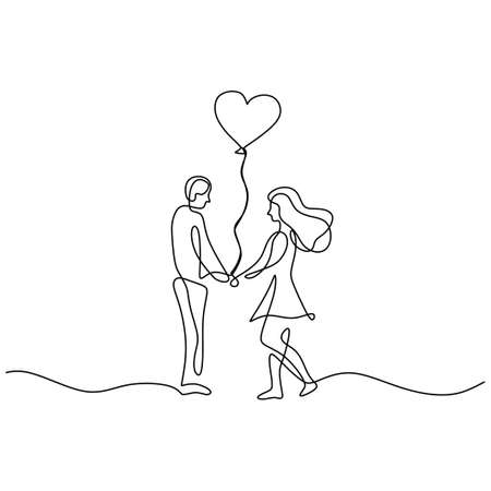 drawing a continuous line of romantic couple playing balloons. Man gives balloons to his lover isolated on white background.