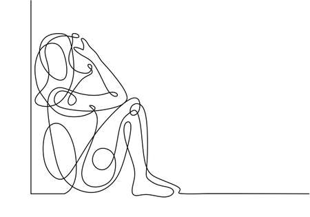 Sad girl continuous one line drawing, people feeling stress and worries about mental health problem.
