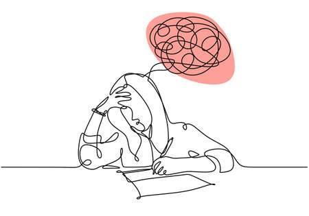 One line drawing of woman have problem and headache. Vector of a student girl doing examination. Ilustracja