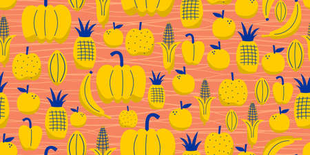 Yellow Fruits seamless pattern with cute natural drawing. Banana, corn, pineapple, lemon, pumpkin isolated on bright background Ilustracja