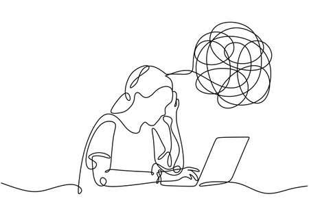 Sad, unhappy young woman continuous line drawing in front of laptop. Psychology problem with stress depression and bad mood. Minimalist vector illustration outline stroke style.