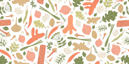 Seamless pattern with herbs and spices hand drawn. Hand-drawn seamless pattern of retro herb spice collection on white background Ilustracja