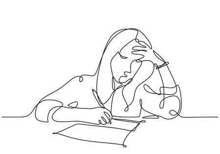 Young woman have thinking problem and frustrated, continuous line drawing minimalist style, vector illustration.