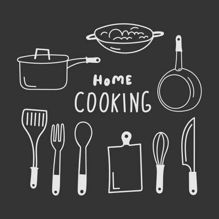 Set of Kitchen utensils vector illustration. Collection of equipment for cooking: pan, knife, skillet, whisk, cutting board, spatula, whisk etc. Isolated modern household elements. Chalkboard style