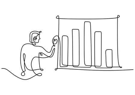 Continuous one line of man doing business presentation. A professional businessman presenting economic graphic on white board. Workshop presentation concept hand drawn line art minimalism design Ilustracja