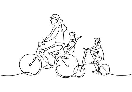 One continuous line drawing of mother riding bicycle with her child at countryside together. Character of a woman with her son riding a bicycle. Parenting concept. Vector illustration