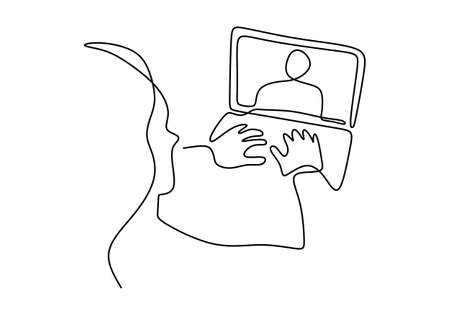 One continuous line drawing of teen girl school student wear headphone and watch video online webinar learn on laptop. Distance E-learning course video conference pc call in bedroom at home. Ilustracja