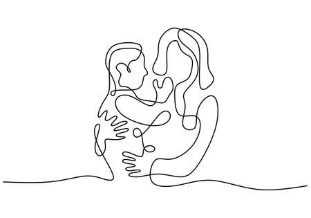 Continuous one line drawing of woman hold her baby. Happy young mom with her little child isolated on white background. Happy Woman's Day. Family parenthood concept. Vector illustration
