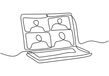 Continuous one line drawing of laptop on the desk with some people on screen for online class. E-learning, online education concept isolated on white background. Vector illustration