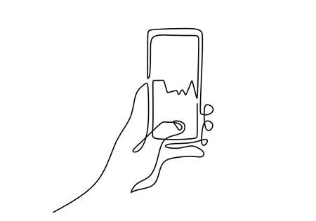 Continuous one line drawing of human hand holding a smartphone while touches the screen and checking the stock market isolated on white background. Investment and finance concept. Vector illustration