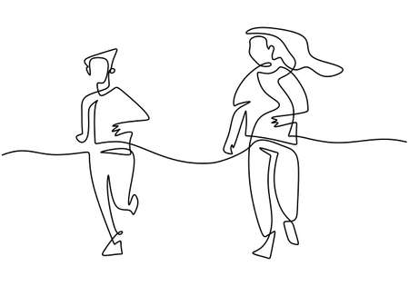 Continuous line drawing of young mother run together with her teenager son in the morning. Happy mom and son doing exercise at the field park. Family loving care concept. Vector illustration