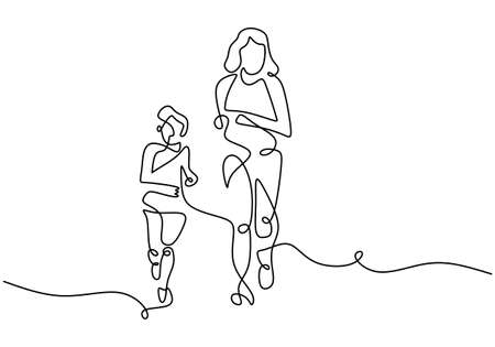Continuous line drawing of young mother run together with her little son in the morning. Happy mom and son doing exercise at the field park. Family loving care concept. Vector illustration