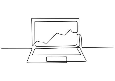 Graph growth indicators on laptop screen in one continuous line hand drawn art minimalism style. The concept is the growth of stock finance isolated on white background. Vector illustration